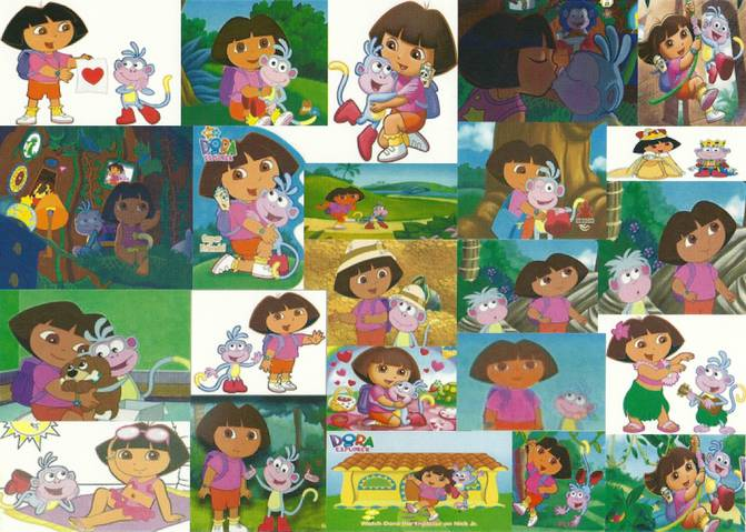 Dora and Boots Wallpaper (Collage) by bigpurplemuppet99 ...