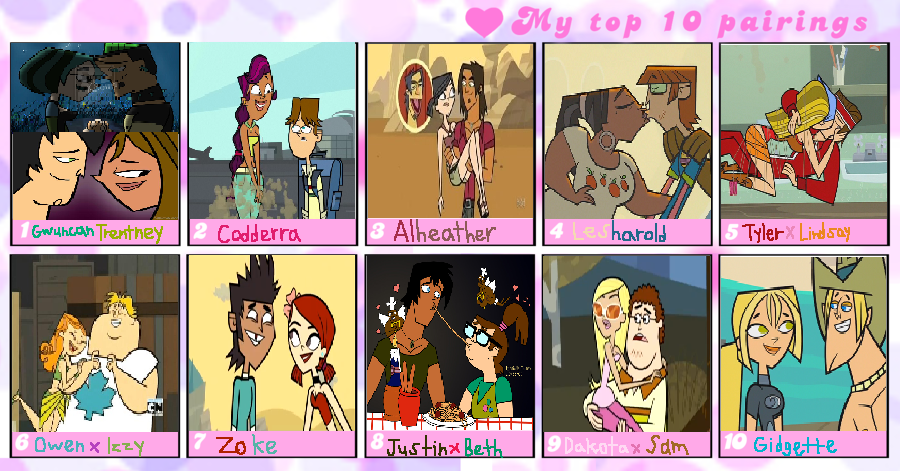 My Top 10 Favorite Total Drama Canon Couples by bigpurplemuppet99