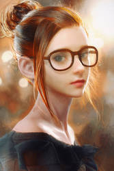A Girl with Glasses by cursedapple