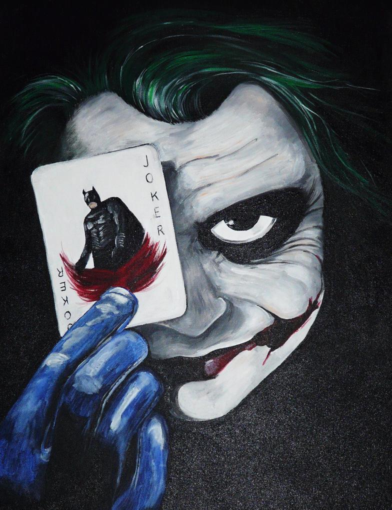 joker holding the batman cardbilliejoesangel on deviantart