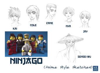 Ninjago Sketches_Anime Style by kemurikat