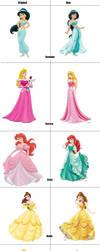 Original Vs. New Disney Princesses by CreamyRabbit
