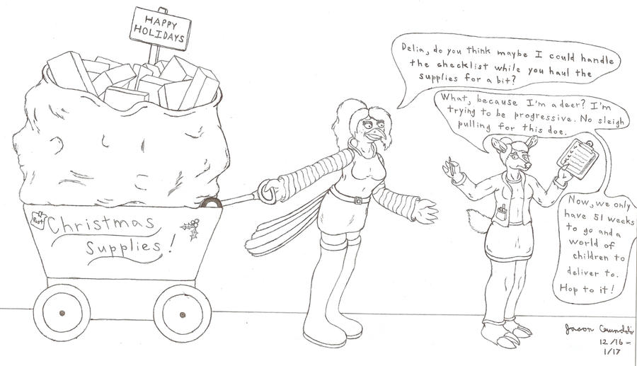 Contest: Post-Christmas Work Ethic - uncolored by AnthroLoverJay