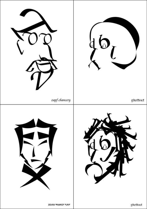 Portreler...ama tipografik by Sequ-ELA