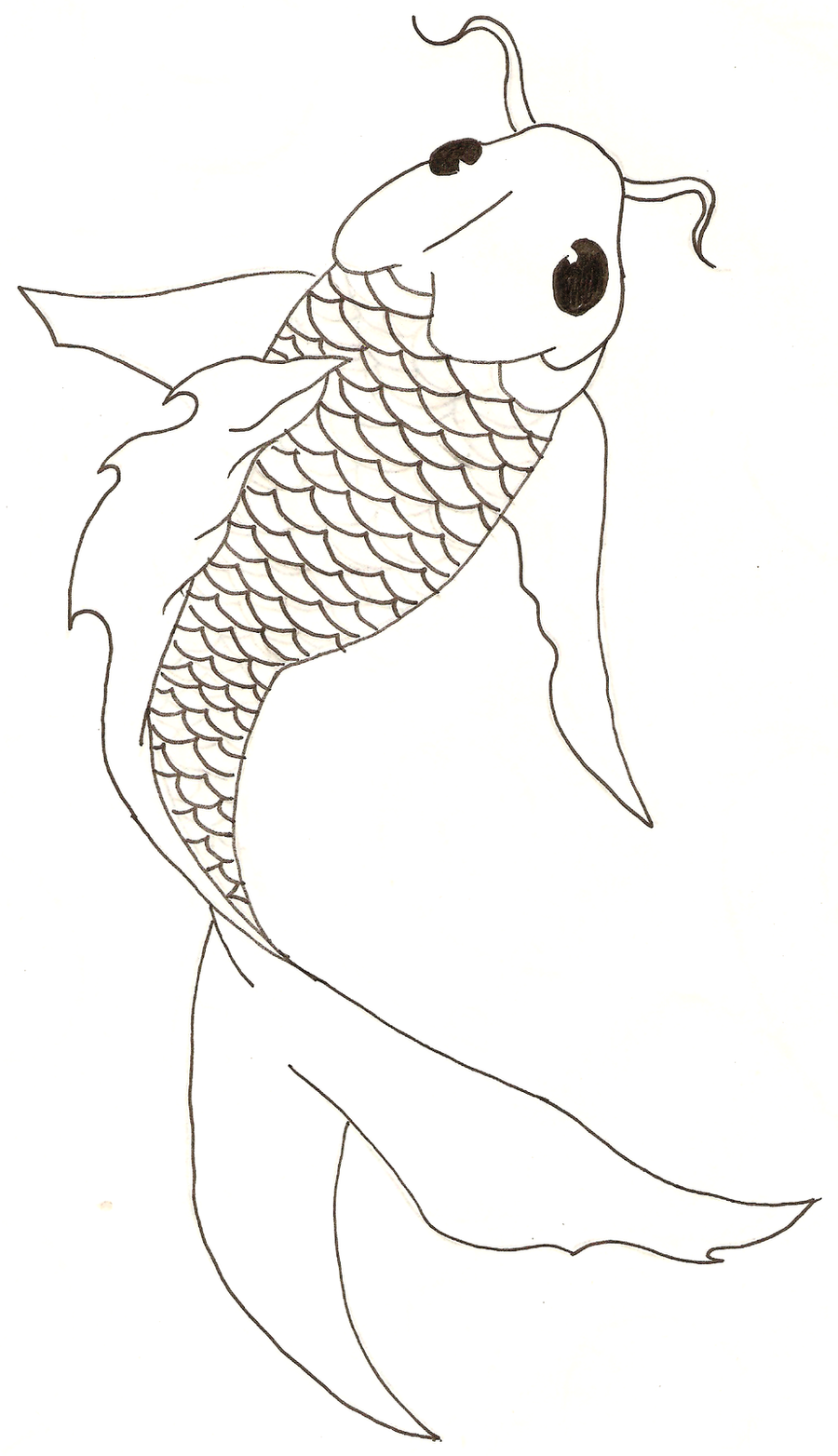 Simple Fish Line Art : Koi fish free lineart by titovn on deviantart