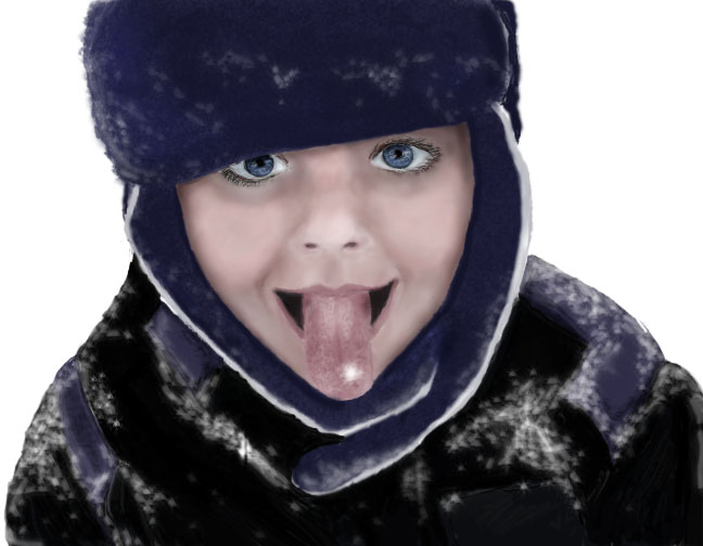 Catching Snow Digital Painting by EllieZ