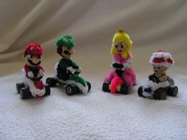 Mario, Luigi, Peach, Toad by fuzzyfigureguy