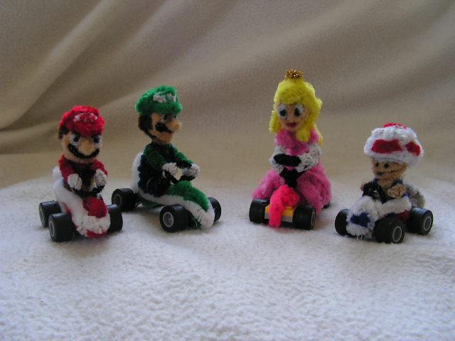 Mario, Luigi, Peach, Toad by fuzzyfigureguy