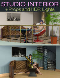 S3D Staircase Studio Interior Sets, Props and HDRI by Slide3D