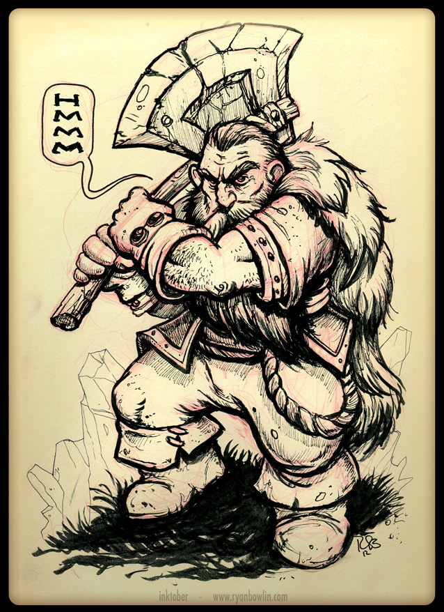 INKtober - Battle Dwarf by RynoZebz