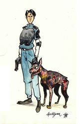 Leon and Cerberus by lepetitgroin