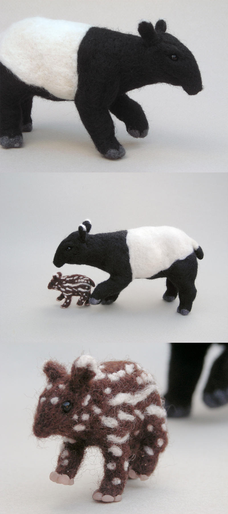 Needlefelted Tapir and Calf