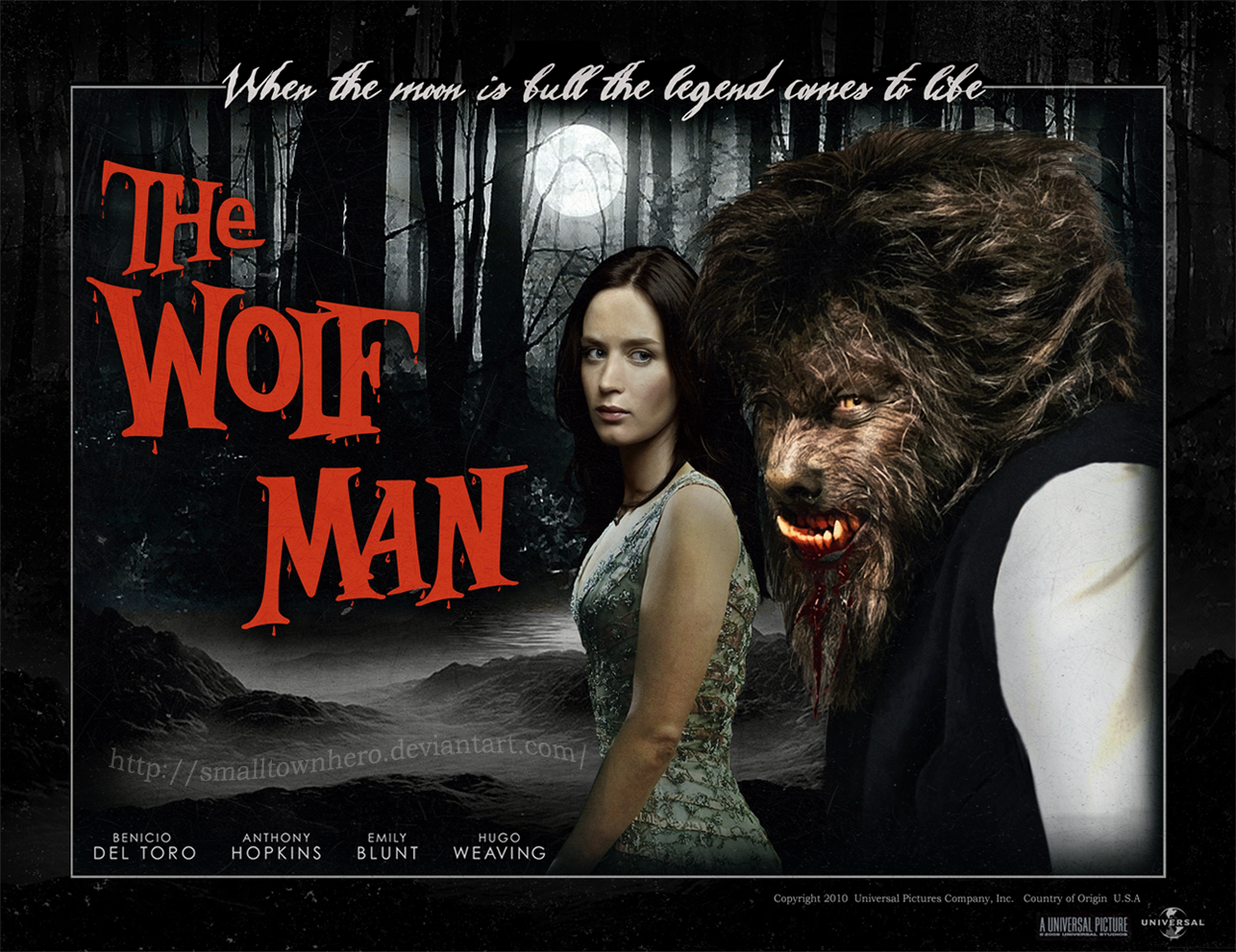 the wolfman 2010 postersmalltownhero on deviantart