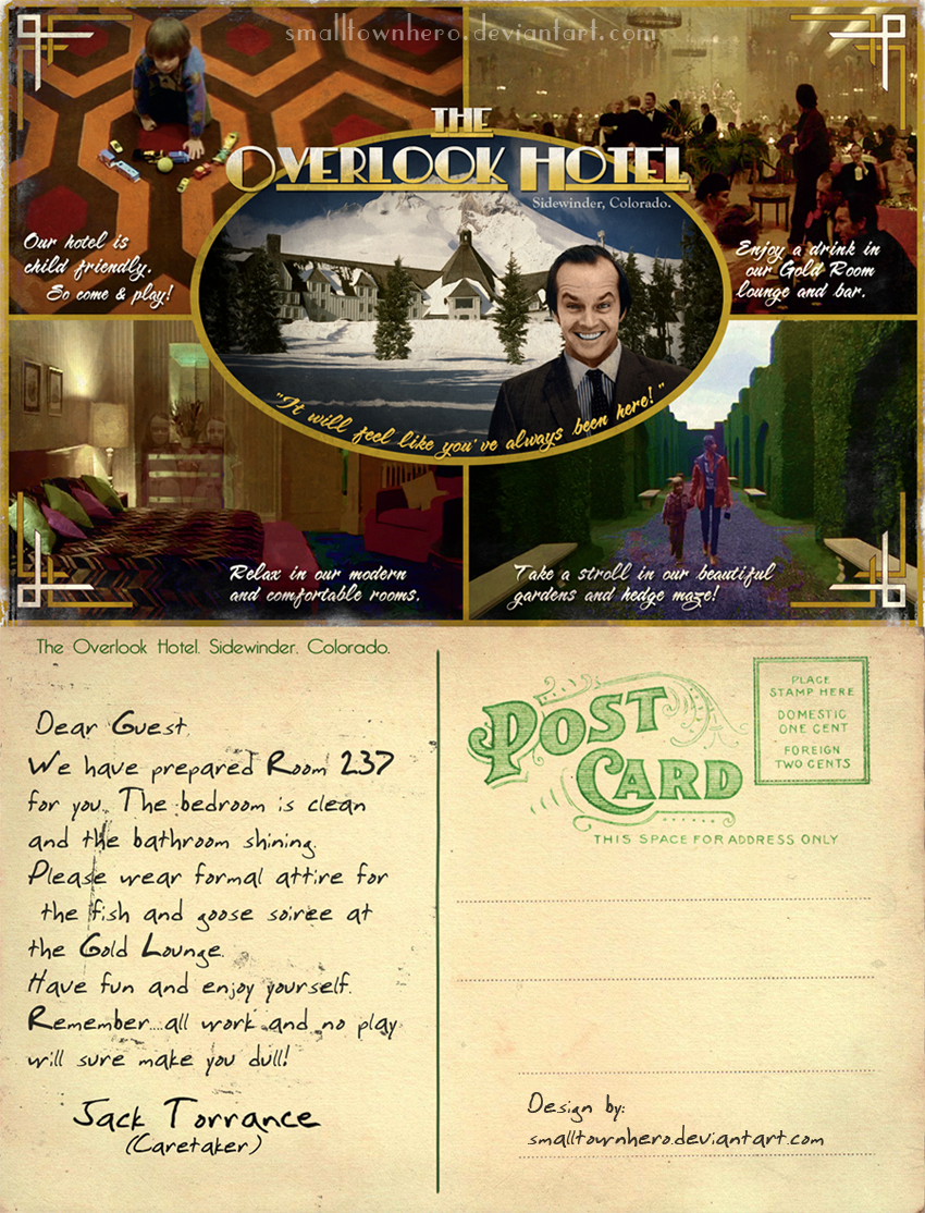 The Overlook Hotel postcard by smalltownhero
