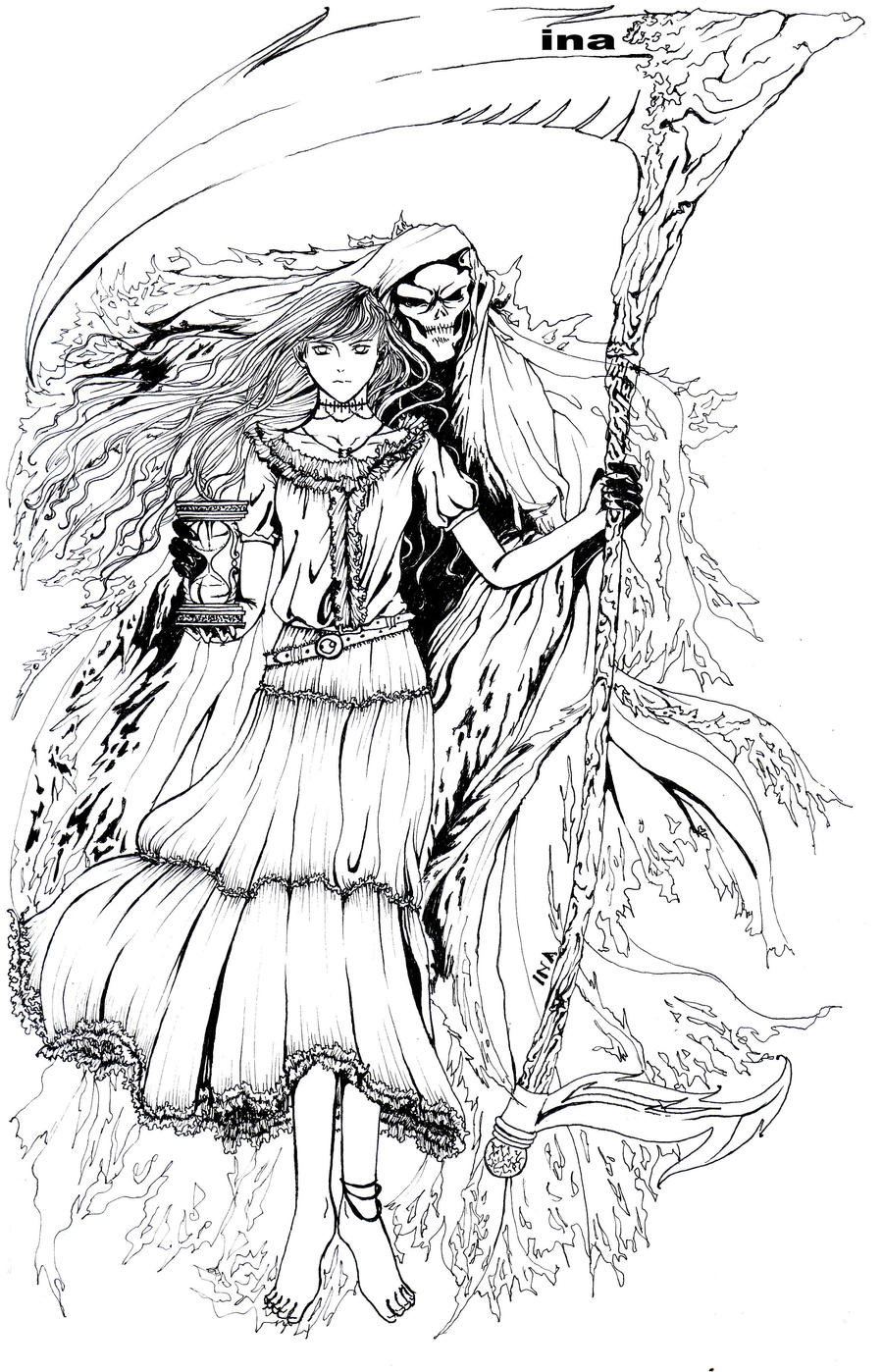 dark angel coloring pages darkangel inking by inawong on deviantart