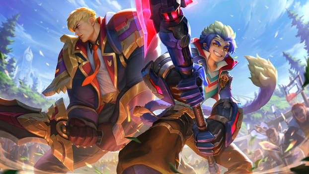 Battle Academia Garen and Wukong Duo-LoL Splashart
