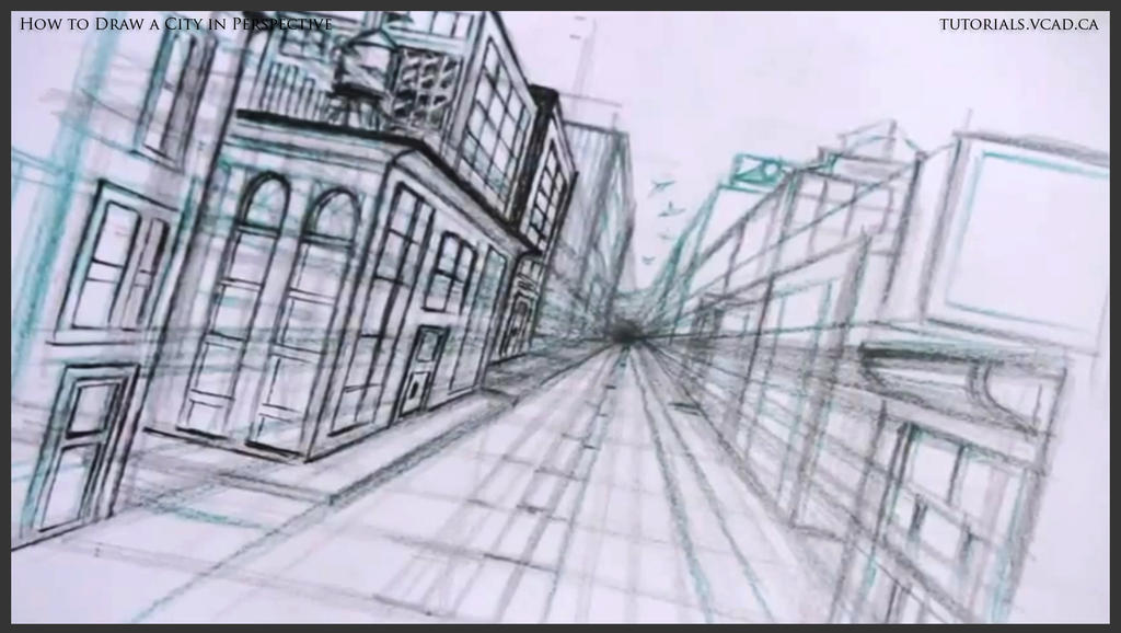 Cool One Point Perspective Drawings How to draw a city in one