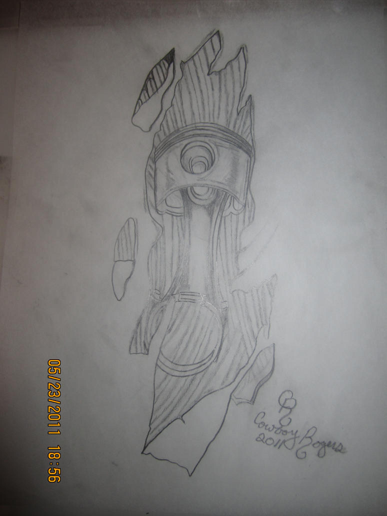 Crossed Pistons Drawing Piston Tattoo Designs Drawings