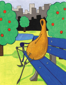 Gourd Sitting On A Park Bench