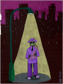 A Purple Jazz Musician
