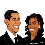 Barack and Michelle Obama Cartoon
