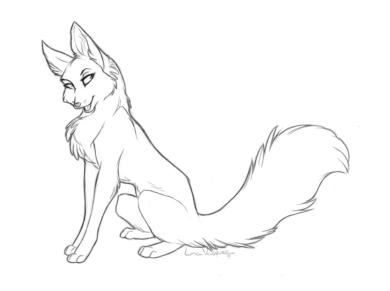 Vixen template by luna v on deviantart for Template of a fox