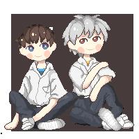 Pixel Art :: Shinji and Kaworu. by elendbastard