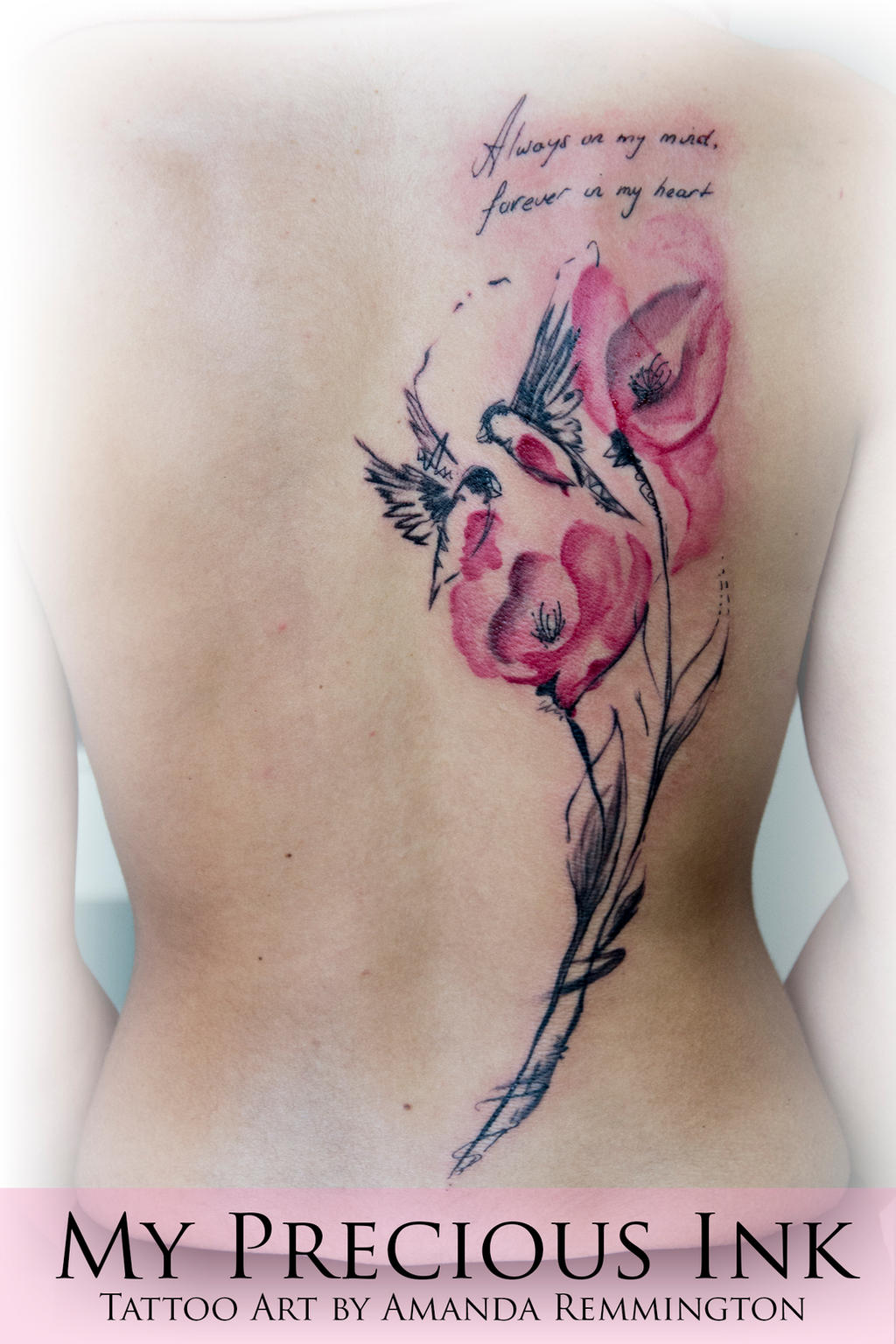 Watercolor Abstract Bird Flowers Tattoo By Mentjuh On Deviantart