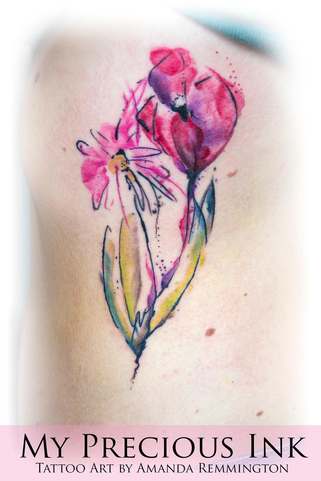 Abstract watercolor flower tattoo by Mentjuh on DeviantArt