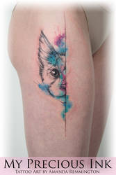 Watercolor Freehand sketch cat tattoo