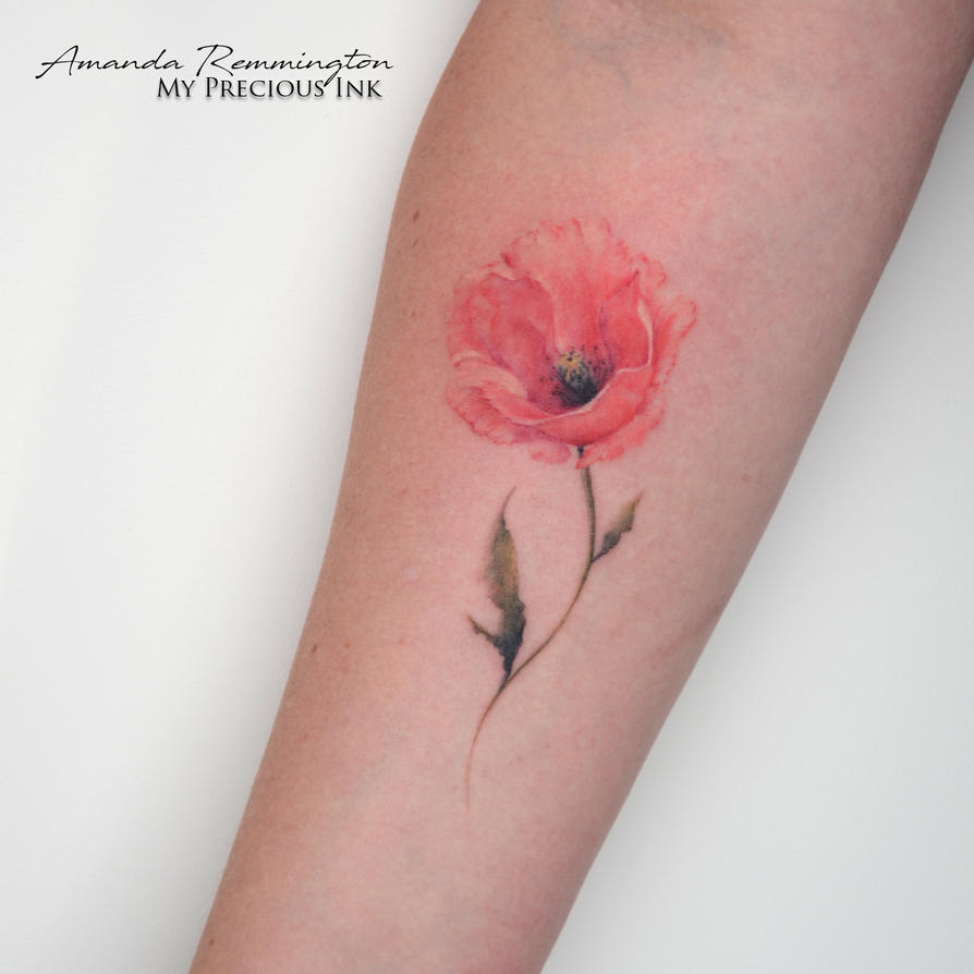 Freehand Watercolor Poppy Tattoo By Mentjuh On Deviantart