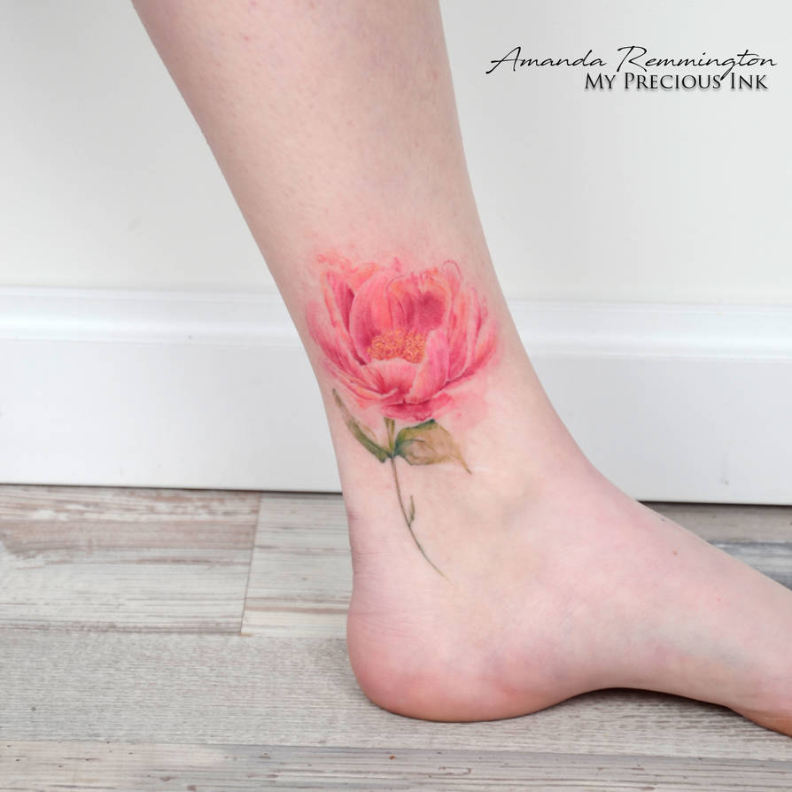 e3890ff26 Freehand watercolor peony tattoo by Mentjuh on DeviantArt
