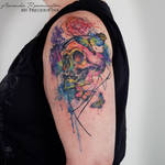 75% is healed! Freehand watercolor skull butterfly by Mentjuh