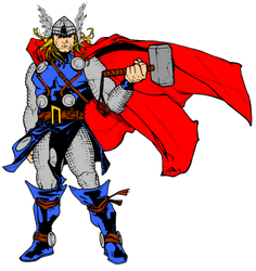 Thor and hammer by timothygreenII color