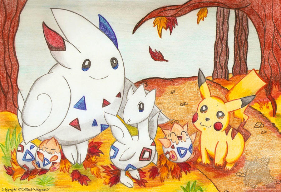 The ' Toge' Family and Pikachu by BlackDragon07
