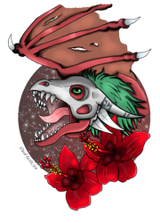 Wyvermon with hibiscus by NightDragon07