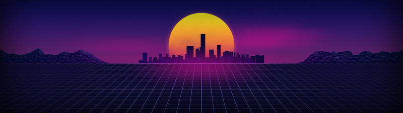 Synthwave Dual Screen Wallpaper