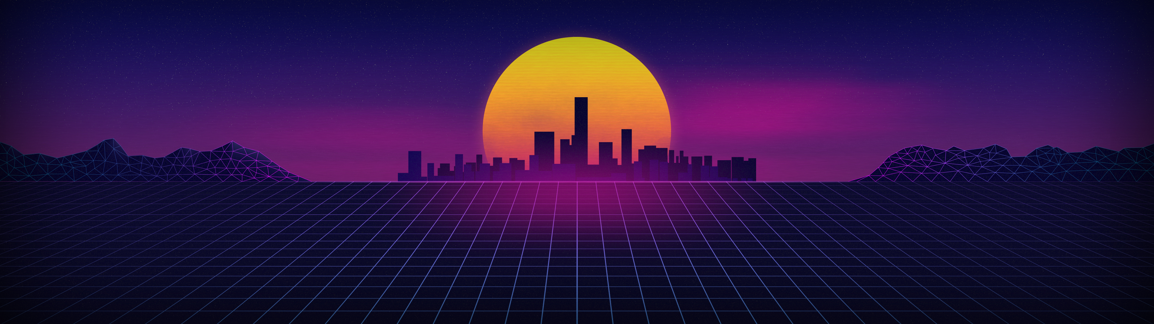 Synthwave Dual Screen Wallpaper By Prostyle43 On Deviantart