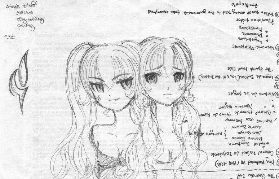 twins sketch by TsukiYuIchi