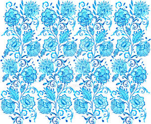 Pattern with watercolor flowers1 by pshenicka