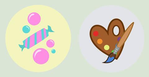TwiBon and Derpity Cutie Marks by HappyDays64