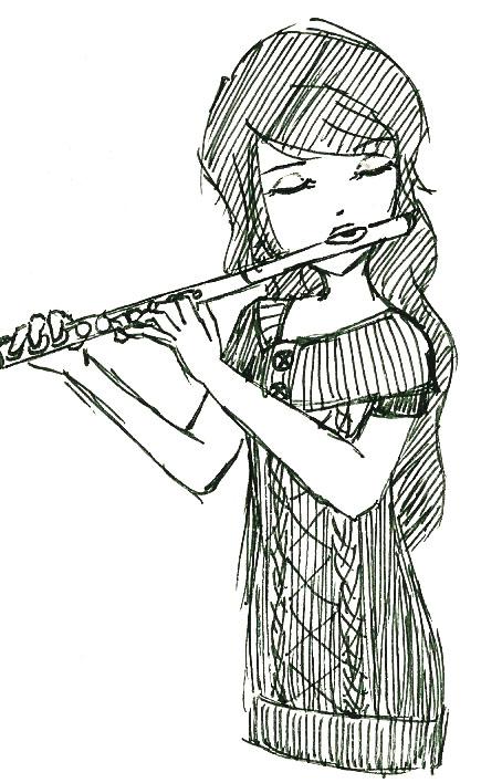 Flute Girl Ink Sketch