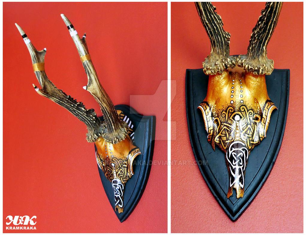 hand painted gold skull roe deer by kramkraka on deviantart. Black Bedroom Furniture Sets. Home Design Ideas