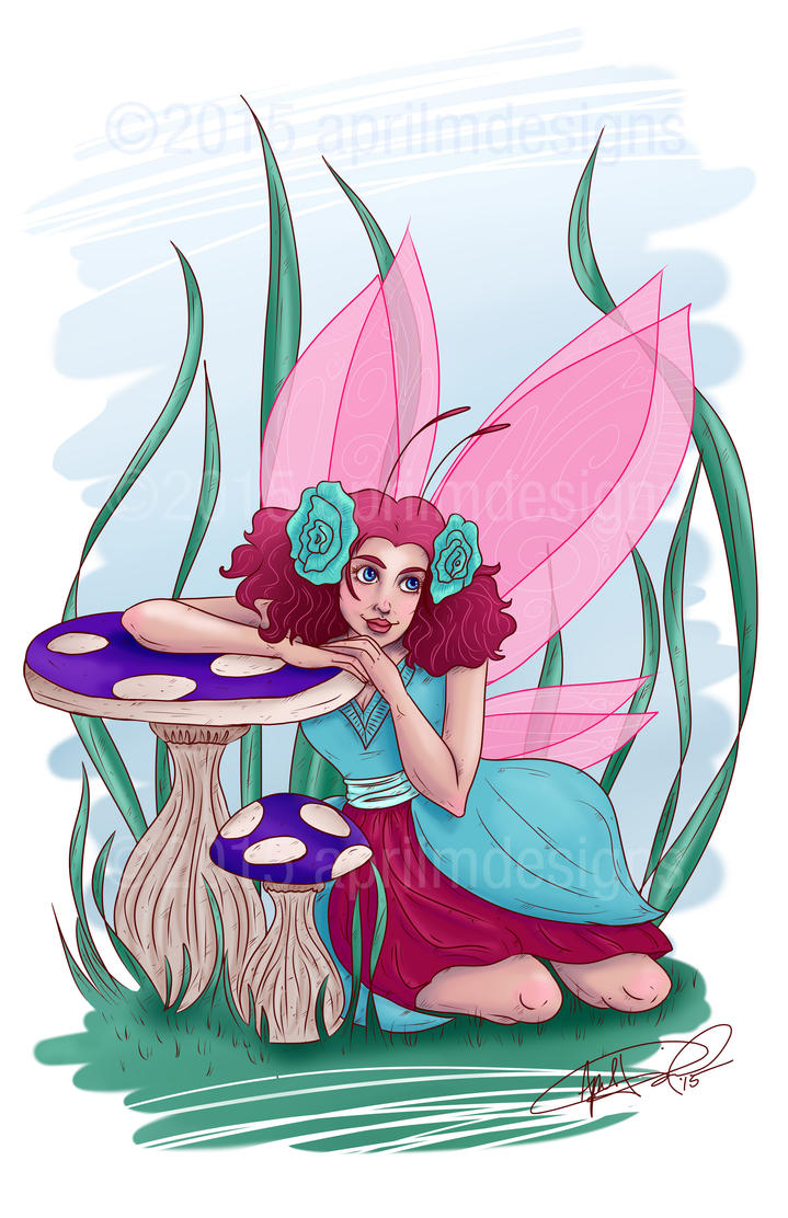 The Mushroom Fairy of The Green Hill Forest by aprilmdesigns