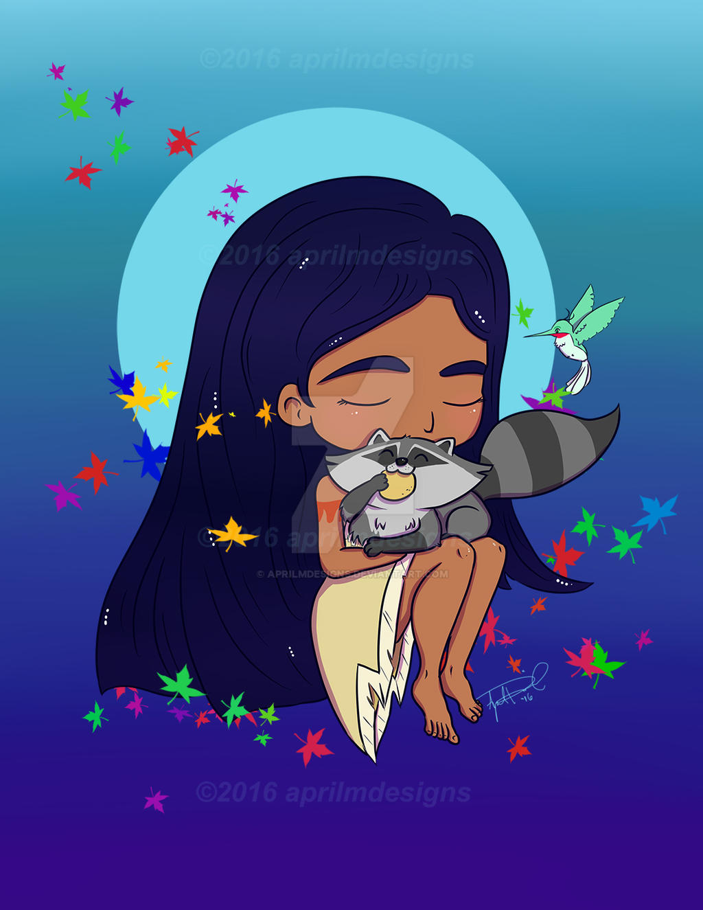 Pocahontas with Meeko and Flit by aprilmdesigns