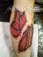 Realistic Leg Muscles And Bone by NickDAngeloTattoos