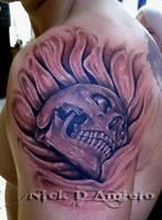 3D Sinking Skull Tattoo by NickDAngeloTattoos