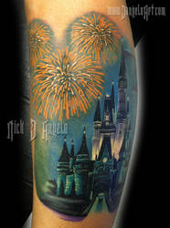 Disney Castle and Fireworks Tattpp by NickDAngeloTattoos