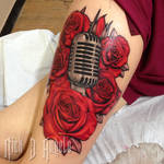 Microphone and Roses Tattoo