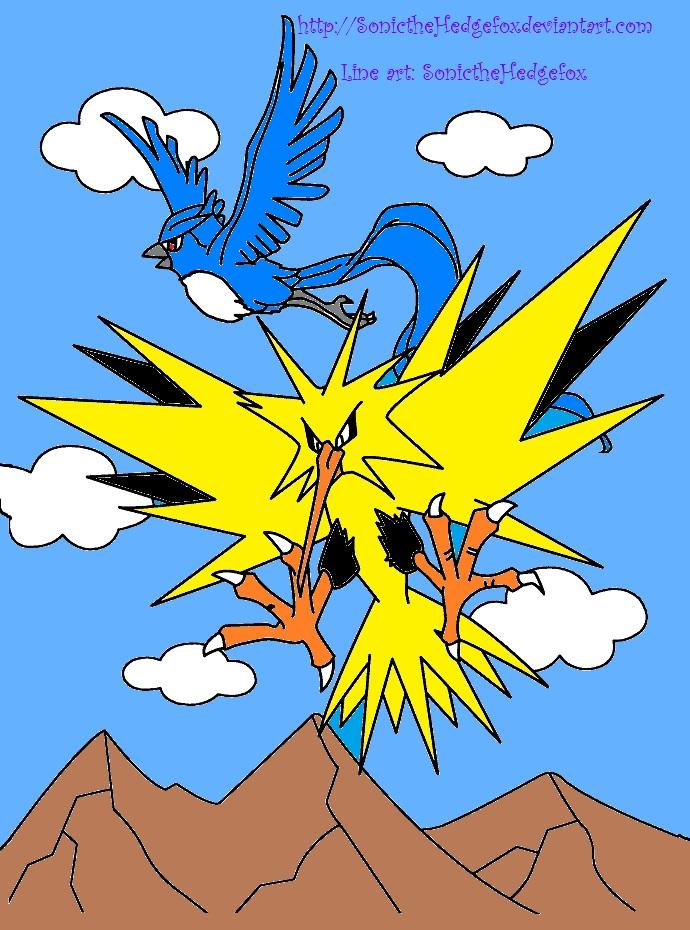 Pokemon Articuno and Zapdos by SonictheHedgefox on deviantART
